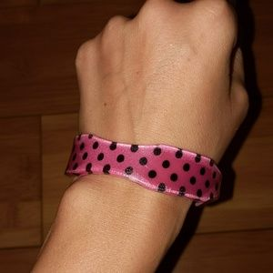 Vintage pink and black polka dot bangle